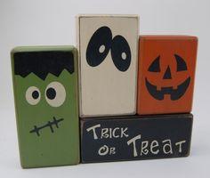 Trick Or Treat with Frankenstein-Ghost-Pumpkin-Halloween-Primitive . Trick Or Treat with Frankenstein-Ghost-Pumpkin-Halloween-Primitive … Dulceros Halloween, Halloween Party Snacks, Adornos Halloween, Holidays Halloween, Halloween Pumpkins, Halloween Blocks, 2x4 Crafts, Fall Wood Crafts, Halloween Wood Crafts
