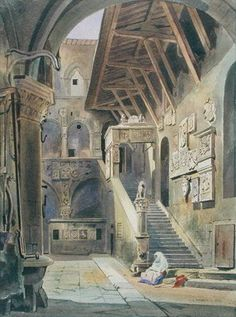 Court of the Bargello, Florence, 1839 (w/c with ink and pencil on paper) Wall Art & Canvas Prints by Thomas Hartley Cromek