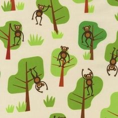 Robert Kaufman - Jungle Party - Monkeying Around - Bermuda : Sew Moder...