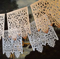 Inspired by the music of Italian composer, Arcangelo Corelli (1653-1713) and referencing vintage Italian lace. Utterly breathtaking, romantic and made with a love.   Wedding garland CORELLI Custom Color Papel Picado by AyMujer, $140.00