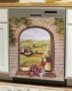 New Magnetic Dishwasher Cover Italian Countryside Tuscan Vineyard Wine Grapes | eBay