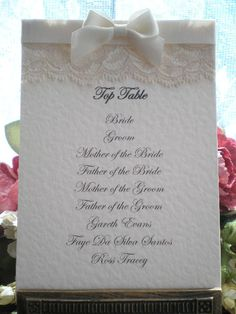 D0047 Victoriana Table Plan Card Available from: www.vintagelaceweddingcards.co.uk
