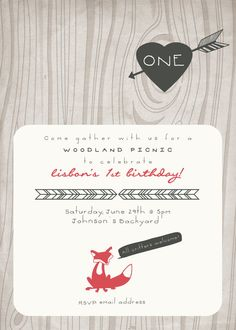 Personalized Woodland Picnic Wood Grain Red Fox Party Invitation PDF (5x7) Red & Brown on Etsy, $20.00