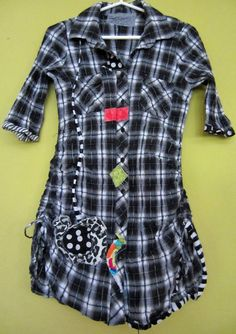 Black and white Plaid Pucker Shirt Upcycled fits S M by monapaints, $98.00