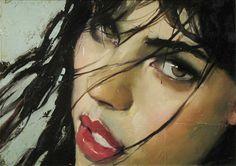 Malcolm T. Liepke (b. 1953), oil on canvas  {figurative #impressionist art female head pretty woman face portrait painting}