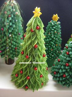 #papercraft #quilling - Christmas trees