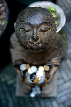 Stone Jizo with Offering - beautiful