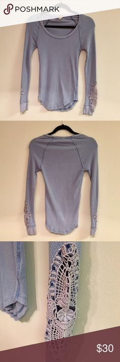 """FREE PEOPLE Periwinkle Synergy Thermal LIKE NEW, only worn a few times, Free People """"We the Free"""" Synergy Thermal in Periwinkle. This color is so beautiful and the lace detailing on the sleeves is such a cute feminine touch! This material is a bit stretchy, so don't worry it's not as small as it may appear in pictures! Feel free to ask any questions or make an offer 😊 Free People Tops Tees - Long Sleeve"""