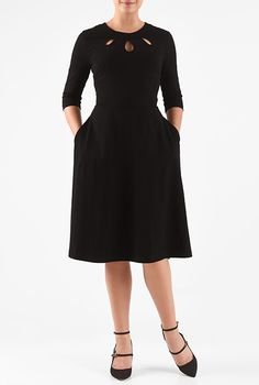 I <3 this Cotton knit cut-out neck dress from eShakti