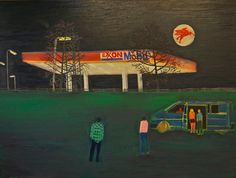 Filling Station by Tom Hammick Oil on linen, 122 x 163 cm Nocturne, Art Gallery Uk, Jackson's Art, Filling Station, Galleries In London, Paintings For Sale, Contemporary Paintings, Art Blog, New Art