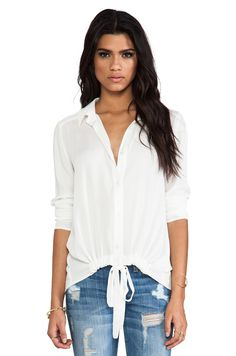 Ella Moss Stella Tie Front Blouse in Natural from REVOLVEclothing