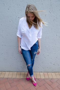 Fashion-White Blouse,Pink Heels Polishedcotton.co.za Have A Good Weekend, Pink Heels, My Outfit, Color Pop, Skinny Jeans, Bows, Cotton, Outfits, Women