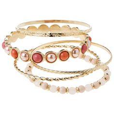 Acrylc Bracelet Coral/Gold ($15) ❤ liked on Polyvore