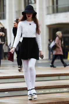 white tights with bnw outfit