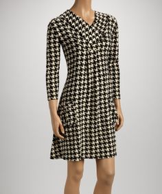 Black Houndstooth Pocket Cowl Neck Dress | Daily deals for moms, babies and kids