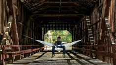 """""""I can't think of a better way to spend my afternoon than to hang myself from and old abandoned covered bridge in my sweet new hammock from…"""""""