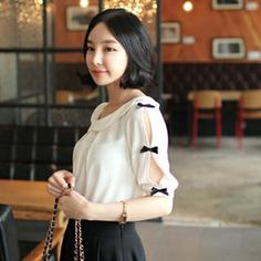 Buy 'lovemark – Bow-Accent Tie-Back Blouse' with Free International Shipping at YesStyle.com. Browse and shop for thousands of Asian fashion items from South Korea and more!