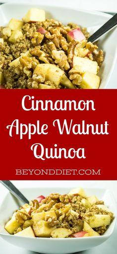 Cinnamon Apple Walnut Quinoa   BeyondDiet.com Quinoa Risotto Recipe, Risotto Recipes, Healthy Breakfast Muffins, Breakfast Recipes, Diet Breakfast, Breakfast Ideas, Fruit Recipes, Healthy Recipes, Fall Recipes