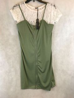 New Poof Apparel Lace Top Olive Green Dress Jumper Womens Size Medium #PoofApparel #Jumper #Casual