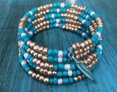 Turquoise & Brown Bracelet Brown Bracelet by TheaDesignConcepts