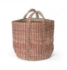 Red & Natural Hemp Basket, Woven of hemp and cotton in an organic stripe pattern, this basket will bring rich texture and helpful storage to any spot in the home. Two handles make carrying easy. Decorative Storage Boxes, Decorative Pillows, Decorative Accents, Leontine Linens, Storage Buckets, Home Storage Solutions, Textiles, Kids Pillows, Laundry Basket