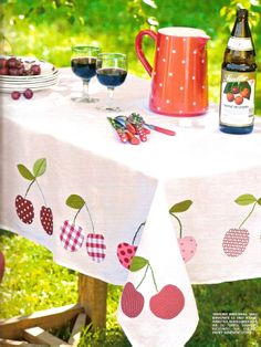 Appliqued Cherry Tablecloth