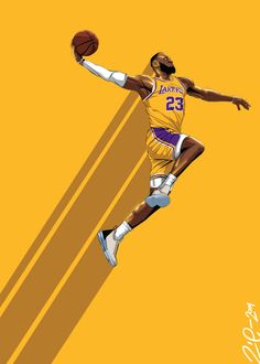 A vector illustration of Lebron James from the NBA basketball team, Los Angeles Lakers, doing a dunk on a gold background. Lebron James Tattoos, Lebron James Quotes, Lebron James Poster, King Lebron James, Lebron James Dunk, Lebron James Lakers, Lebron James Wallpapers, Nba Wallpapers, Cool Nike Wallpapers