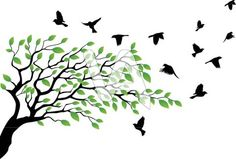 live oak tree clip art black and white | Vector Illustration Of Tree Silhouette With Bird Flying