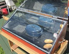 Solar Oven.  Lots of room, I like this one & I like the stand, bringing it up to counter height.