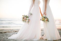 There are a million (make that trillion) things we love about this coastal wedding, but number one our long list? The pure love that radiates between the gorgeous couple who met in kindergarten. Beach Wedding Photos, Wedding Poses, Wedding Dresses, Lesbian Beach Wedding, Lesbian Wedding Photos, Wedding Ideas, Wedding Stuff, Wedding Locations California, California Wedding