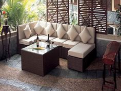 outdoor lounge - Furniture I love - Balcony Furniture Design Outdoor Furniture Small Space, Small Patio Design, Sofas For Small Spaces, Balcony Furniture, Outdoor Wicker Furniture, Backyard Furniture, Backyard Patio, Outdoor Spaces, Living Spaces