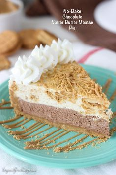 This No-Bake Chocolate Nutter Butter Mousse Pie is a Nutter Butter cookie crust with a thick layer of chocolate mousse, a layer of peanut butter cookie mousse and topped with whipped cream and more peanut butter.