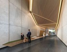 Image 5 of 7 from gallery of Perkins+Will Designs Manhattan Office Building Sculpted by Setback Restrictions. Photograph by Perkins+Will Office Building Lobby, Office Lobby, Office Images, Contract Design, Facade Design, Entrance Design, Wall Installation, Greenwich Village, Brick And Stone
