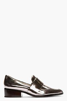 3 1 PHILLIP LIM Gunmetal Patent Leather Quinn Loafers 3.1 Phillip Lim