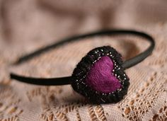 Sweetheart Valentine's Day Headband in Purple and Black by YellowElm on Etsy, use coupon code SEATTLE2013 for an additional 30% off