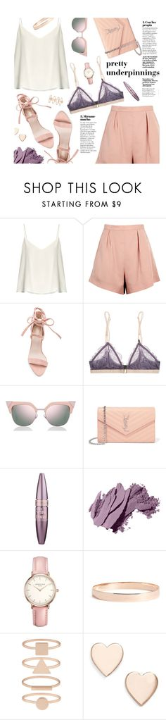 """""""Pretty Underpinnings"""" by virginia-laurie ❤ liked on Polyvore featuring Raey, Finders Keepers, LoveStories, Fendi, Yves Saint Laurent, Maybelline, Bobbi Brown Cosmetics, Topshop, Lana Jewelry and Accessorize"""