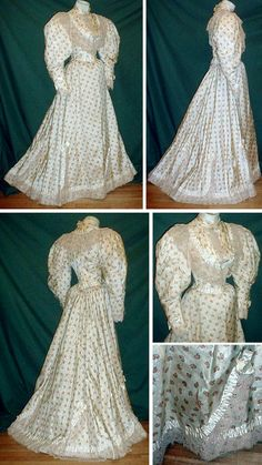 Gold-printed ivory silk afternoon dress with ecru lace and ivory satin ribbon trim, ca. 1895.