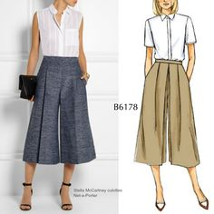 Sew the Look: Take a cue from these Stella McCartney culottes and sew your own pair in denim or linen using Butterick B6178.