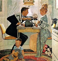 A kitchen debate...Dewey vs. Truman ~ illustration by Norman Rockwell for the Saturday Evening Post, ca. 1940s.