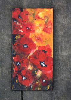 Original Art Poppies Oil Painting Art Original by BarbaraGallery