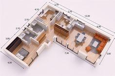 L Shaped House Plans, 3d House Plans, Modern House Plans, Small House Plans, L Shaped Tiny House, Small House Design, Modern House Design, Casas Containers, Container House Plans