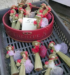 Straw dolls with lavender at a market in Carpentras, Provence, France