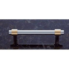 3 1/2 Inch Chrome And Brass Smooth Pull Jvj Hardware Pulls Drawer Cabinet Hardware & Kno