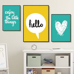 Modern Minimalist Phrase Art Canvas Painting Happy Enjoy Print And Poster Wall Picture Kids Room Home Decor Baby Room Nursery Canvas Wall Decor, Canvas Art Prints, Wall Art Decor, Kids Room Wall Art, Nursery Wall Art, Nordic Art, Canvas Home, Rooms Home Decor, Modern Wall Art