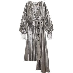 Wanda Nylon Silk-blend lamé wrap dress (8.025.840 IDR) ❤ liked on Polyvore featuring dresses, slimming wrap dress, lame dress, slim fit dress, asymmetrical hem dresses and slimming dresses