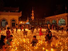 Festival of Lights, Myanmar....Lighting a sea of candles, Burmese pay homage to their ancestors during Thadingyut, the three-day festival of lights in October marking the end of the Buddhist equivalent of Lent.