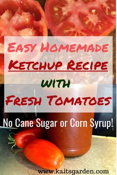 This gluten free, easy homemade ketchup recipe with fresh tomatoes has no cane sugar or corn syrup. It is sweetened using agave nectar, a low glycemic and diabetic friendly sweetener. Homemade Tomato Ketchup, Tomato Ketchup Recipe, Homemade Ketchup Recipes, Homemade Sauce, Ketchup Recipe From Fresh Tomatoes, Recipes With Fresh Tomatoes, Sauce Recipes, Keto Ketchup, Homemade Pickles