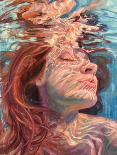 These Stunning Underwater Paintings By Isabel Emrich Will Take Your Breath Away - Under water - Art Underwater Painting, Breathing Underwater, Painting Abstract, Painting Art, L'art Du Portrait, Self Portrait Artists, Portrait Ideas, Reflection Art, Arte Sketchbook