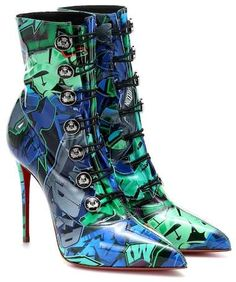 Retro-chic and urban-cool are two ways to describe the printed Liossima ankle boots from Christian Louboutin. They are made in Italy from shiny PVC with a blue and green graffiti-inspired print and a vintage, . Retro Chic, Christian Louboutin Heels, Louboutin Shoes, Online Shops, Shoe Art, Leather Ankle Boots, Leather Pants, Heeled Boots, Ankle Boots