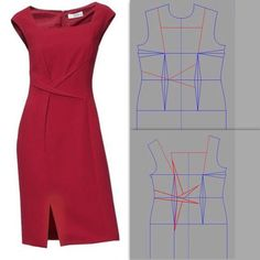 A few tweaks to the pattern and a very simple dress design suddenly becomes a lot more unique and interesting. Sewing Patterns Free, Clothing Patterns, Dress Patterns, Techniques Couture, Sewing Techniques, Diy Clothing, Sewing Clothes, Fashion Sewing, Diy Fashion